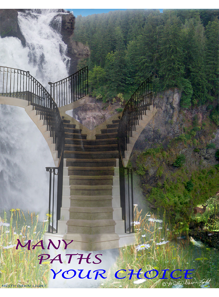 split staircase rising over waterfall