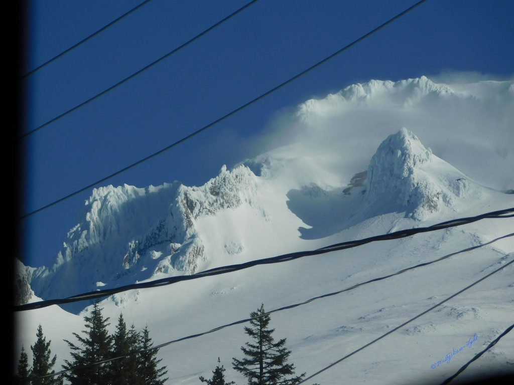 Snowy Mountain Peak Power Lines
